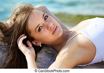 summer girl - Young beautiful slavonic girl posing on the...