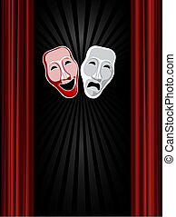 theatre comedy and tragedy masks and black background