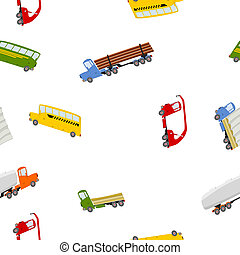 seamless pattern with colorful trucks and buses in cartoon...
