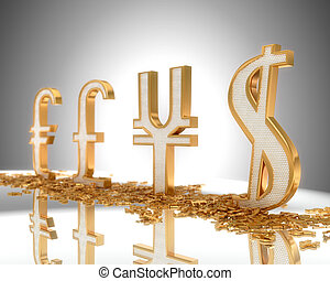 Focus on Dollar. Golden Currency signs