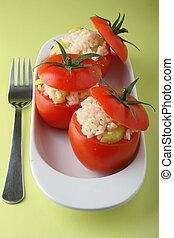 stuffed tomatoes - stuffed tomato and fork