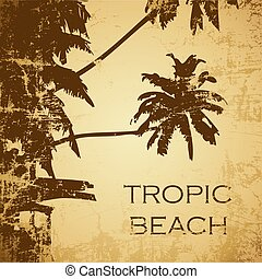 beach  - grunge tropic beach palms on the yellow background