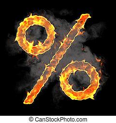 Burning and flame font percent symbol over black background