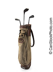 Golf Clubs Bag - Old bag of golf clubs isolated on white...