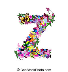 Pattern letter of butterflies and flowers z
