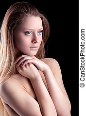 Beauty young naked girl look at light
