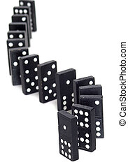 Curved Dominos - Curved line of dominos waiting to be...