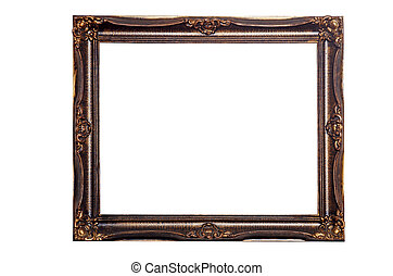 antique gold picture frame - isolated antique gold picture...