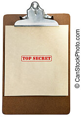 Top secret - marked top secret on a pile of documents