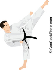 Martial Art - Vector illustration of a man doing standing...