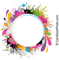 Abstract frame with splashes - Abstract frame with color...
