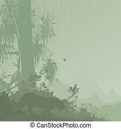Jungle tree tropic rain mountain on the background