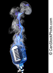 microphone - old mic in blue flames. isolated on black.