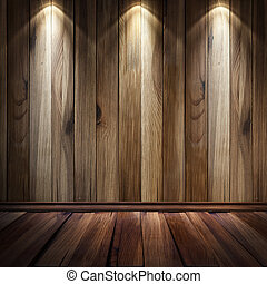 wall - vintage brown wooden wall with a spot illumination