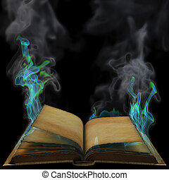 book - old empty open book in the magical flames. isolated...
