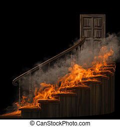staircase - burning wooden twisted staircase and closed...