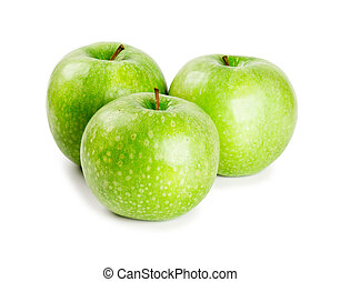 Three ripe and juicy green apples nearby with each other...