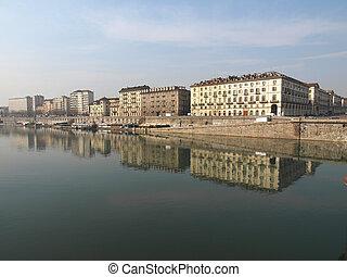 River Po, Turin - Fiume Po (River Po) in Turin, Italy