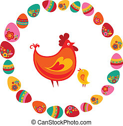 Easter chicken and eggs - Easter chicken surrounded by eggs
