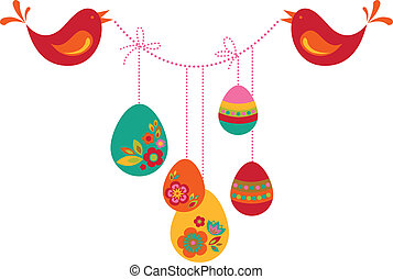 Two birds with Easter eggs - Two birds with colored Easter...