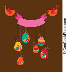 Cute Easter background with tow birds