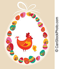 Easter chickens with egg frame