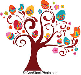 Curled Easter tree with bird and eggs