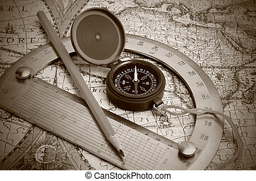 compass and protractor on the map