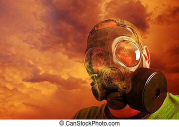 Man with gas mask and Clouds - portrait Man with gas mask...