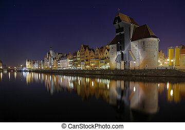nadrzecze,  Gdańsk, Noc