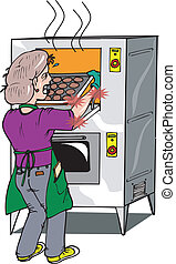 oven burn - A woman taking a tray of cookies out of a...