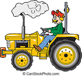 Rops tractor - A man operating a small tractor with roll...