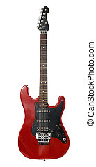 red and black electric guitar isolated on a white background
