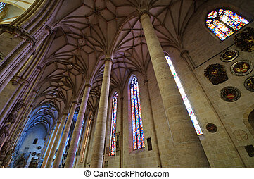 Ulm, Germany - Inside of the Ulm Minster, Altar and Stained...