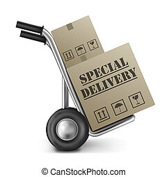 special delivery cardboard box sack truck