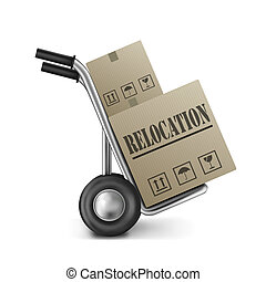relocation cardboard box relocate or move package on hand...