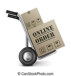Online, ordem, papelão, caixa, bonde