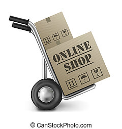 online shop cardboard box internet shopping store to order...