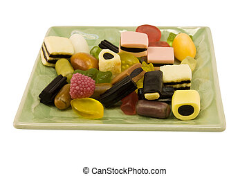 gummy party candy dish - party dish of gummy shapes isolated...