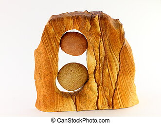 Wood with pebbles - Piece of wood with two round balanced...