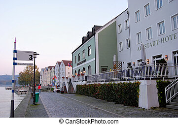 Passau, Germany - Danube Promenade in Passau, Germany