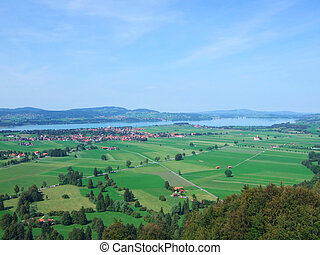 Hohenschwangau, Germany - Lake Forggen and Meadows in...