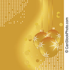 Gold Christmas ornaments on shiny background