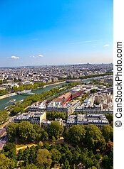 Aerial view of Paris architecture from the Eiffel tower...