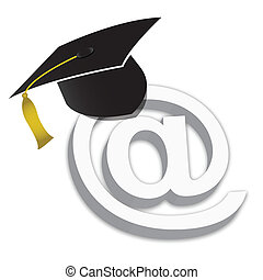 Online Education Degrees Grad Hat illustration isolated over...