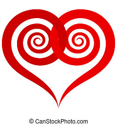 ornamental red heart with intertwined spiral halves