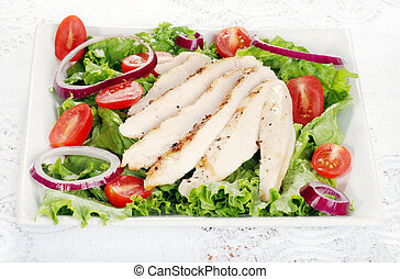 plate of grilled chicken salad