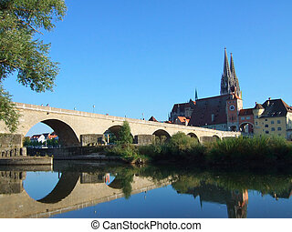 Regensburg, Germany - Old Town and the Danube in Regensburg,...