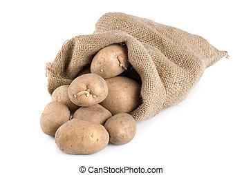Potatoes in a hessian sack - Raw potatoes in a hessian sack...