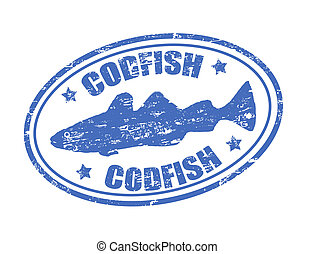 Codfish stamp - Grunge rubber stamp of a codfish fish and...